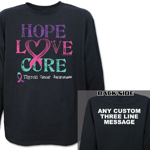 Hope Love Cure Thyroid Cancer Long Sleeve Shirt