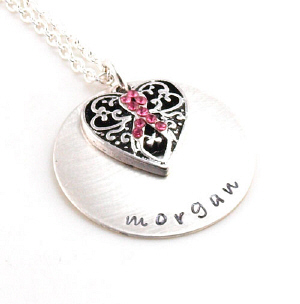 Breast Cancer Awareness Ribbon Hand Stamped Pendant