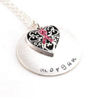 Breast Cancer Awareness Ribbon Hand Stamped Pendant DB15031