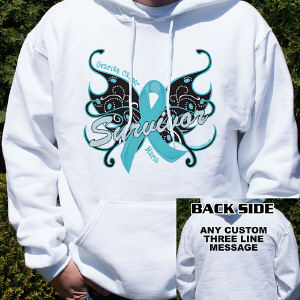 Ovarian Cancer Survivor Butterfly Hooded Sweatshirt
