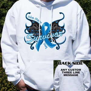 Colon Cancer Survivor Butterfly Hooded Sweatshirt