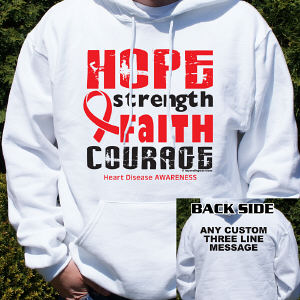 Heart Disease Hope Ribbon Hooded Sweatshirt