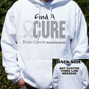 Find A Cure Brain Cancer Awareness Hooded Sweatshirt