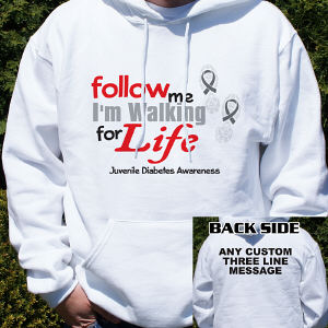 Walk for Life Juvenile Diabetes Awareness Hooded Sweatshirt