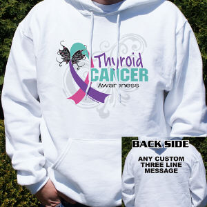 Thyroid Cancer Awareness Ribbon Hooded Sweatshirt