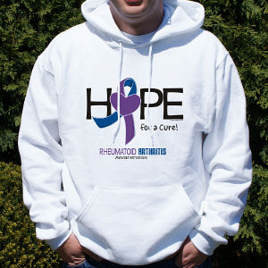Hope For A Cure Rheumatoid Arthritis Awareness Hooded Sweatshirt