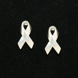 Silver Awareness Ribbon Earrings