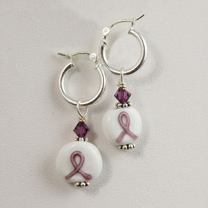 Purple Awareness Ribbon Silver Earrings