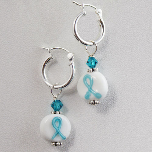 Teal Ribbon Cancer Awareness Sterling Silver Earrings