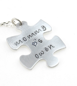Puzzle Piece Hand Stamped Pendant