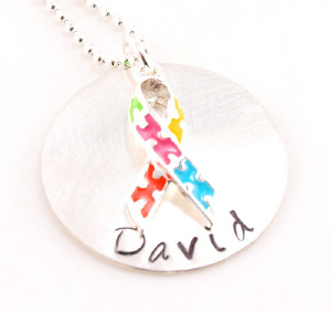 Autism Awareness Ribbon Hand Stamped Necklace