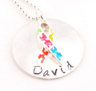 Autism Awareness Ribbon Hand Stamped Necklace DKARC014