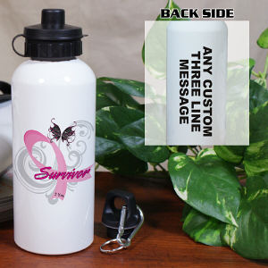 Hope Ribbon Breast Cancer Survivor Water Bottle