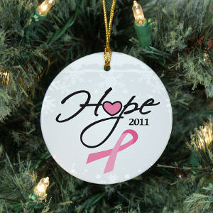 Ceramic Hope Awareness Christmas Ornament