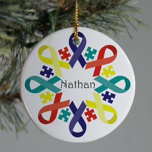 Autism Ribbon Snowflake Ornament