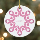 Pink Ribbon Snowflake Ornament