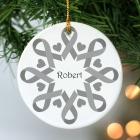 Gray Ribbon Snowflake Ornament