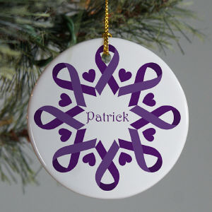 Purple Ribbon Snowflake Ornament
