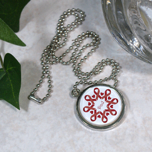 Red Ribbon Circle Frame Necklace