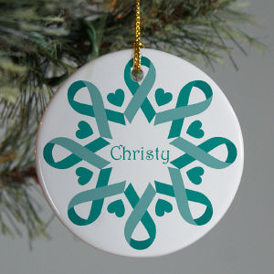 Teal Ribbon Snowflake Ornament