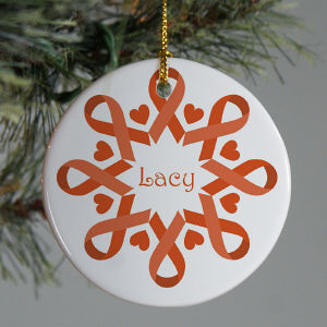 Orange Ribbon Snowflake Ornament