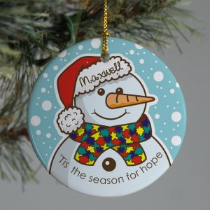 Autism Ribbon Snowman Ornament