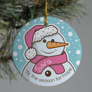 Pink Ribbon Snowman Ornament