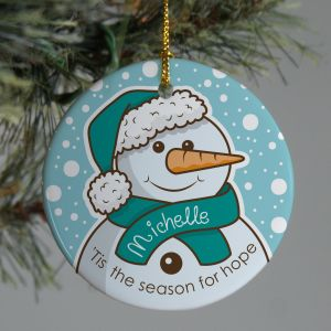 Teal Ribbon Snowman Ornament