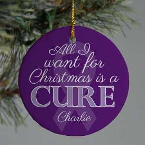 Purple Ribbon Awareness Ornament