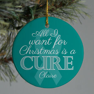 Teal Ribbon Awareness Ornament