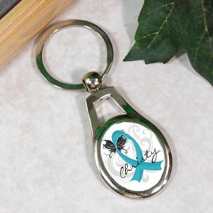 Teal Ribbon Butterfly Key Chain Mywalkgear Com