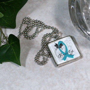 Teal Ribbon Butterfly Necklace