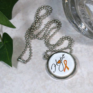 MS Hope Awareness Circle Frame Necklace