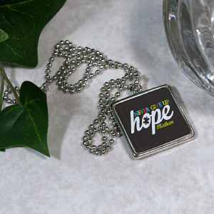 Never Give Up Hope Autism Awareness Necklace