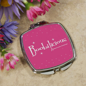Boobilicious Breast Cancer Awareness Compact Mirror