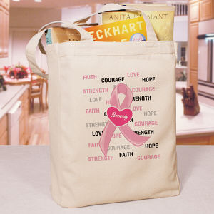 Hope and Love Breast Cancer Awareness Canvas Tote Bag