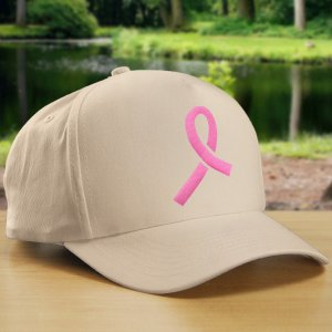 Embroidered Pink Ribbon Hat
