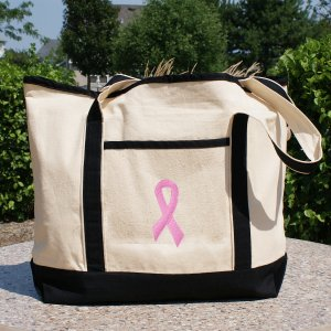 Embroidered Pink Ribbon Tote Bag