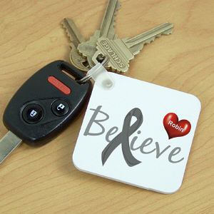 Personalized Believe Diabetes Awareness Key Chain