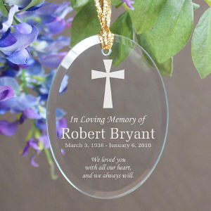 In Loving Memory Oval Glass Ornament