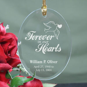 Our Hearts Memorial Oval Glass Ornament