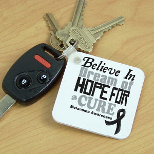 Believe In A Cure Melanoma Awareness Key Chain