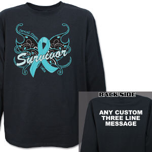 Cervical Cancer Survivor Butterfly Long Sleeve Shirt