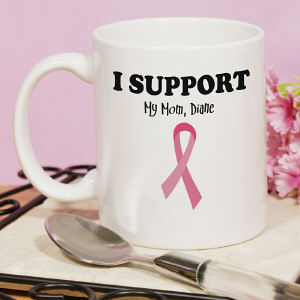 I Support - Breast Cancer Awareness Personalized Coffee Mug