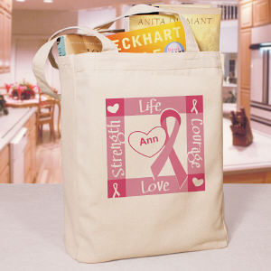 Ribbon of Heart - Breast Cancer Awareness Personalized Canvas Tote Bag