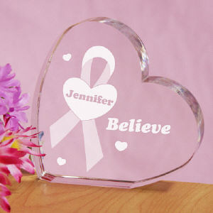 Believe Awareness Ribbon Heart Keepsake