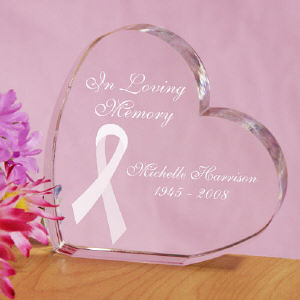 Engraved In Loving Memory Personalized Breast Cancer Awareness Heart Keepsake
