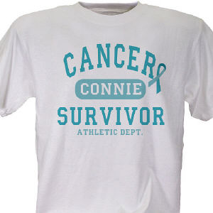 Cancer Survivor Athletic Dept. - Ovarian Cancer Awareness Personalized T-shirt