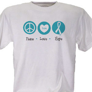 Peace, Love, Hope Cervical Cancer Awareness T-Shirt