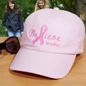 Embroidered Breast Cancer Awareness Pink Hat